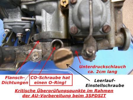 CO-Schraube und Leerlaufeinstell-Schraube, Schwachstellen
