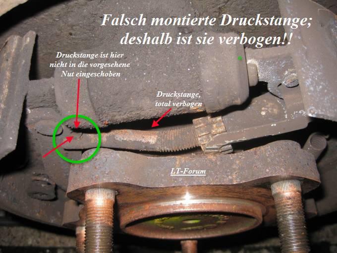 Falsch eingebaute Druckstange