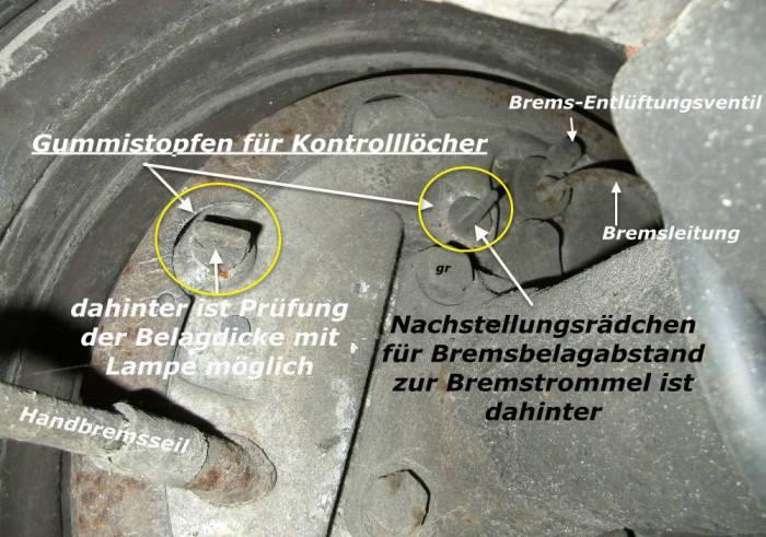 Trommelbremse im eingebauten Zustand prüfen